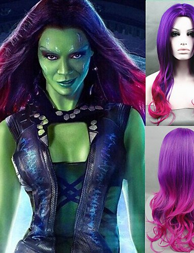 [Wigs have an attractive convenience fashion Cosplay Wig New Guardians of the Galaxy Gamora Wig Synthetic Long Wavy Gradient Costume] (Gamora Costume For Sale)