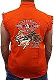 Men's Sleeveless Denim Shirt Last Stop Full Service Gasoline Biker Vest: Orange (XL)
