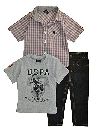 U.S. Polo Assn. Little Boys' 3 Piece Short Sleeve Shirt, T-Shirt, and Denim Jean Set, Multi Plaid Pink 2T Joker Jeans