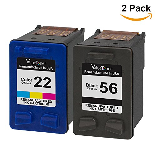 Valuetoner Remanufactured Ink Cartridge Replacement For Hewlett Packard HP 56 & HP 22 C6656AN C9352AN (1 Black, 1 Tri-Color) 2 Pack