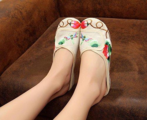 WXT Zapatos bordados finos, lenguado del tendón, estilo étnico, flip flop femenino, manera, cómodo, sandalias meters white