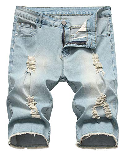 - Men Summer Vintage Washed Ripped Distressed Straight Casual Jean Shorts, 1206-Vintage Blue, US 30 /Tag 30