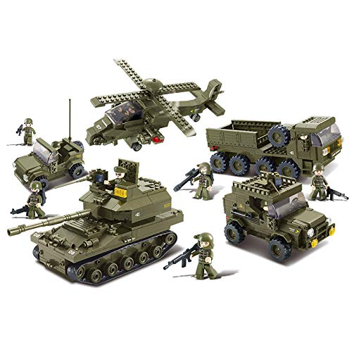 Sluban Ground Forces Joint Attack Blocks Army Bricks Toy - Hind Helicopter & T-90 Main Battle Tank & Army Personnel Carriers & Army Jeep & Prowl Car