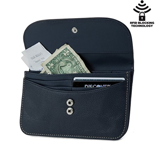 Mundi Womens Slim Flap Envelope Clutch RFID Blocking Wallet With Safe Keeper Technology (Navy) by Mundi (Image #1)