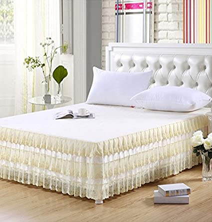 Delightful Norson Ruffled Skirt Bed Sheets Korean Lace Bed Skirt Full Queen (9, Queen)