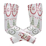 Arm Sleeves Vintage Christmas Stickers Mens Sun UV Protection Sleeves Arm Warmers Cool Long Set Covers