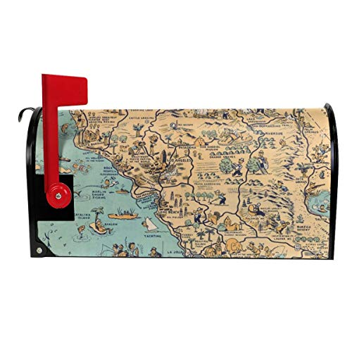Tidyki Old Los Angeles Maps Beach Large Magnetic Mailbox Cover Seasons Spring Summer Fall Winter MailWraps Letter Post Box Garden Yard Home Decor for Outside Standard Size 25.5x21 in