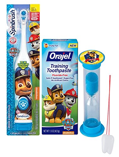 "Paw Patrol ""Chase"" Inspired 3pc Oral Hygiene Set! Includes Spin Toothbrush, Toothpaste &Brushing Timer! Plus Bonus Tooth Saver Visual Aid!"