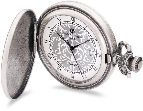 Charles-Hubert, Paris 3926 Classic Collection Antique Silver Plated Brass Quartz Pocket Watch Brass Quartz Pocket Watch