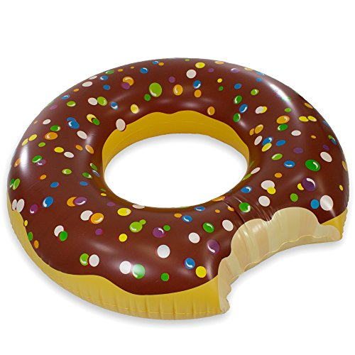 Play Platoon Jumbo Donut Pool Float - Gigantic Chocolate Donut Inflatable - Fun for All Ages