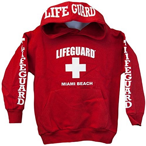 Lifeguard Kids Miami Beach Florida Life Guard Sweatshirt Red Hoodie (Youth Sm...