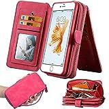 iPhone 7Plus/8Plus Women's Case,iPhone 7 Plus/8 Plus Wallet Case,Zipper Detachable Magnetic12 Card Slots Card Slots Money Pocket Clutch Cover Zipper Wallet Purse Case iPhone 7 Plus/8 Plus (HotPink)