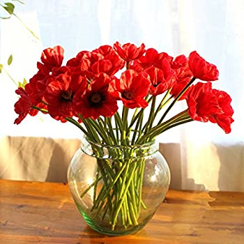 10 PCS High Quaulity Fresh Artificial Mini Real Touch PU/ latex Corn Poppies Decorative Silk fake artificial poppy flowers for Wedding holiday Bridal Bouquet Home Party Decor bridesmaid (Red)