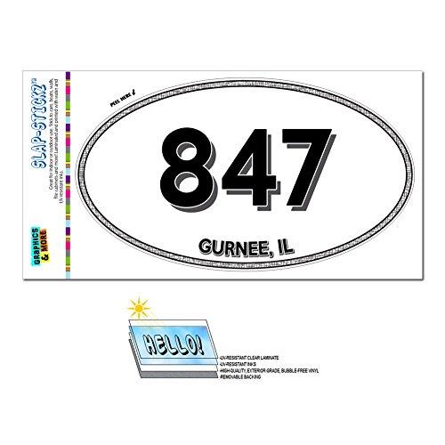 Graphics and More Area Code Oval Window Laminated Sticker 847 Illinois IL Algonquin - Vernon Hills - (City Of Gurnee Il)