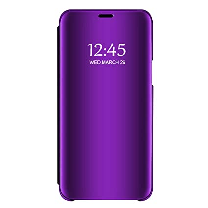 Case Compatible Samsung Galaxy A50 A30 Case Clear View Mirror Flip Folio with Stand Shockproof Protective Cover for Samsung Galaxy A10 (Purple, ...