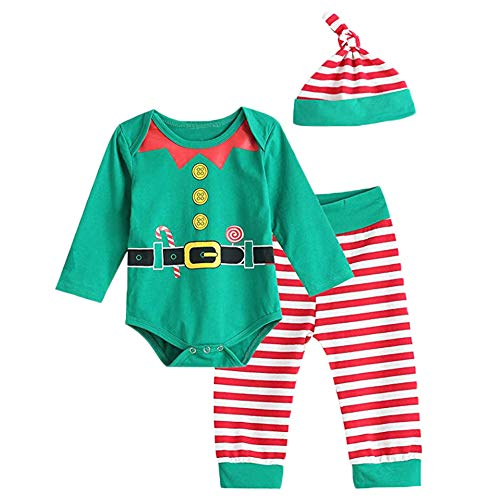 Asisol Baby Boy Girl Christmas Outfits Long Sleeve Santa Elf Printed Romper Tops + Striped Pant Sets with Hat (Green & Red, 90/12-18M)