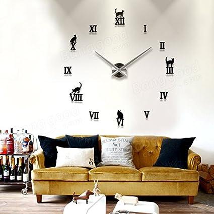 Amazon com: Bazaar DIY Large Wall Clock 3D Cute Cat Mirror