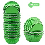 Lelekiss Mini Metallic Foil Cupcake Liners Green Baking Cups Muffin Case (300 Pieces)