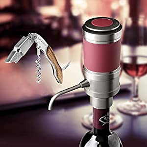 Lxuzan Electric Wine Aerator Dispenser Decanter with Rosewood Waiters Corkscrew-Air Pressurized-6 AAA Battery Operated-FDA Approved-One Touch Control Silver & Gold (New Packing)