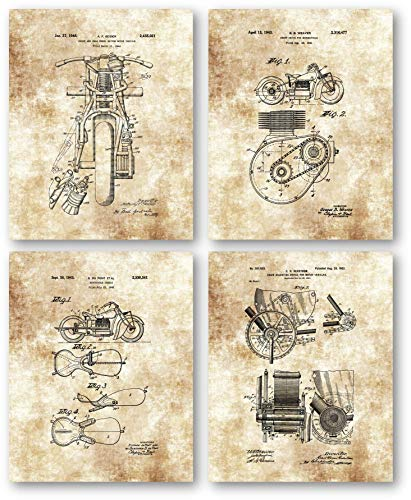 Original Indian Motorcycle Patent Art Prints Drawings - Set of 4 8 x 10 Unframed Prints - Great Gift for Classic Indian Motorcycle Riders - Mancave Artwork