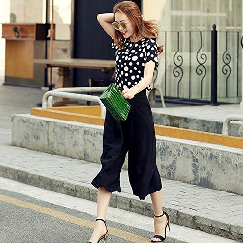 KTK  Koreanische Version von Frühjahr bis Sommer dünne Streifen Kurzarm Hemd Mode weite-Bein abgeschnitten Jeans. Twin Set neu