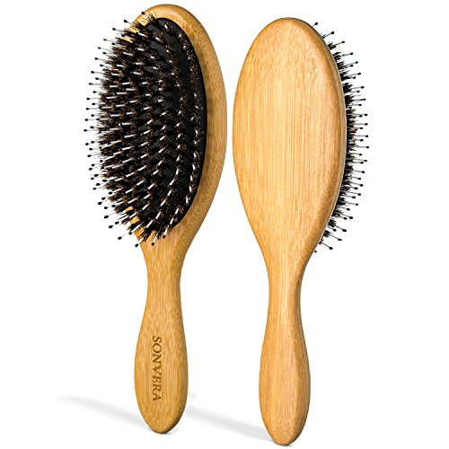 Boar Bristle Bamboo Oval Detangling and Straightening Hair Brush Men Nylon Boars Detangle Hair Brushes for Women Mens and Children Paddle Brush Wooden Bore Eco Hairbrush for Thick Curly Hair Men