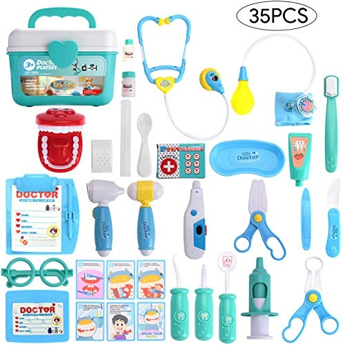 Balnore Doctor Kit for Kids 35 Pieces Pretend Play Dentist Toy Medical Kit Easter Stuffers and Doctor Role Play Educational Toy for Kids Holiday Gifts, Costume Dress-Up Classroom, Party
