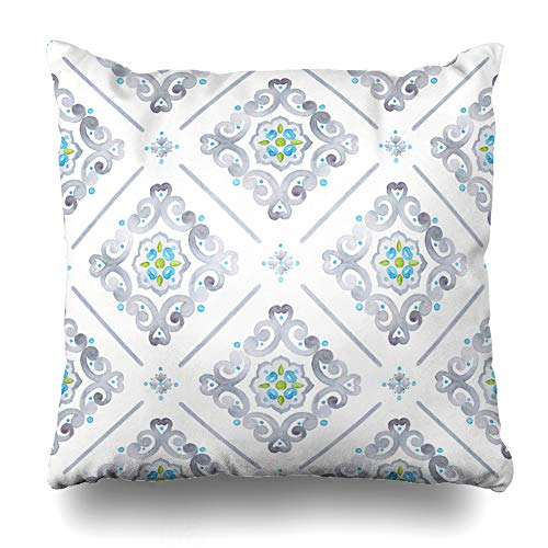 Ahawoso Throw Pillow Cover Square 17x17 Inches Medallion Blue Pattern Watercolor Filigree Renaissance Medieval Gray Lace Damask Geometric Turquoise Zippered Cushion Pillow Case Home Decor Pillowcase