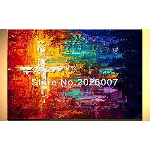 Orlco Art Ölgemälde, Landschaft, abstrakte Palette, Regenbogenblick, handbemalt, für Familie, Wohnzimmer, bunt, canvas, bunt, 24x48inch(60x120cm) With the Frame …