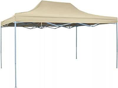 vidaXL Carpa de Fiesta Jardín Plegable Pop-up Acero Tela Crema 3x4, 5m Cenador: Amazon.es: Jardín