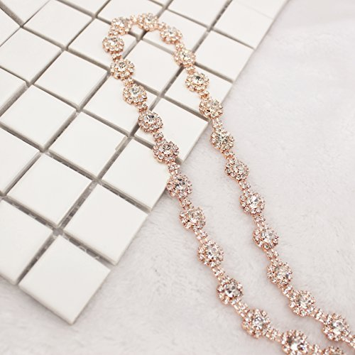 1 Yard 10mm Costume Applique Crystal Clear Rhinestone Rose Gold Chain Trims Sew On Rhinestone Wedding Belt Headband Cake Decoration (Rose Gold Metal)