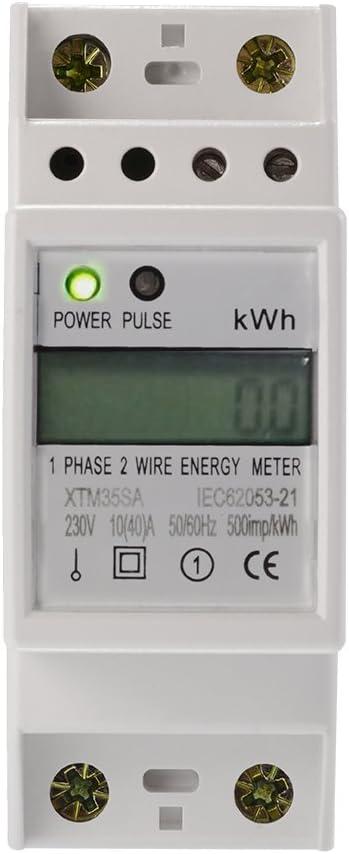 Contatore di Energia KWH monofase con guida DIN e uscita impulsi