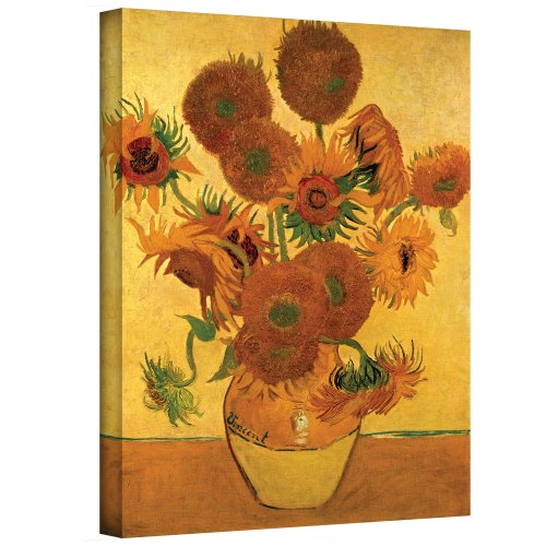 Art Walls Vase with Fifteen Sunflowers Gallery Wrapped Canvas by Vincent Van Gogh, 14 by 18-Inch