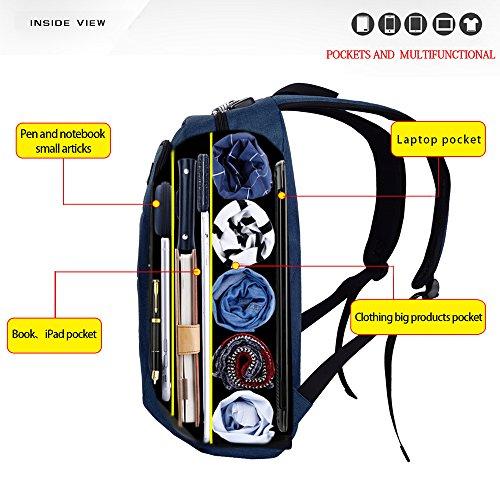 Lixada Multifunktionale Casual Breathable Water Resistant Laptop Rucksack Anti-Diebstahl-Tasche sollte mit USB-Ladeanschluss Kopfhörer-Interface für College-Studenten Arbeit Männer. Blue lfgPpi