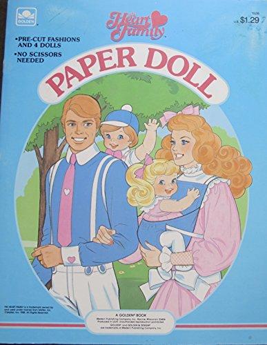 Mattel THE HEART FAMILY PAPER DOLL Book (UNCUT) w 4 Card Stock DOLLS & Pre-Cut FASHIONS (1985 Golden Book)