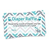 Baby : Diaper Raffle Tickets - Teal Blue Elephant Baby Shower Invitation Insert Cards (25 Count)