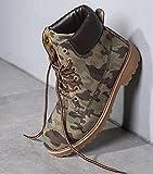 DADAWEN Women's Lace up Low Heel Work Combat Boots