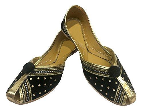 Étape N Style Femme en velours et cuir Khussa Chaussures panjabi jutti mojari traditionnel indien