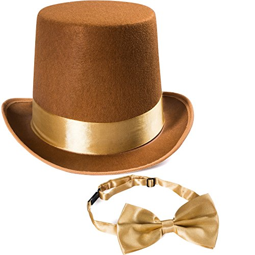 Tigerdoe Costume Hats - Top Hat w/Bow Tie - Costume Accessory Set - Brown Hat w/Neck Tie (Top Hat w/Bow Tie) ()