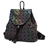 HotOne Shard Lattice Design Geometric Backpack Holographic Reflective Backpacks PU Leather Fashion Backpack(Luminous)