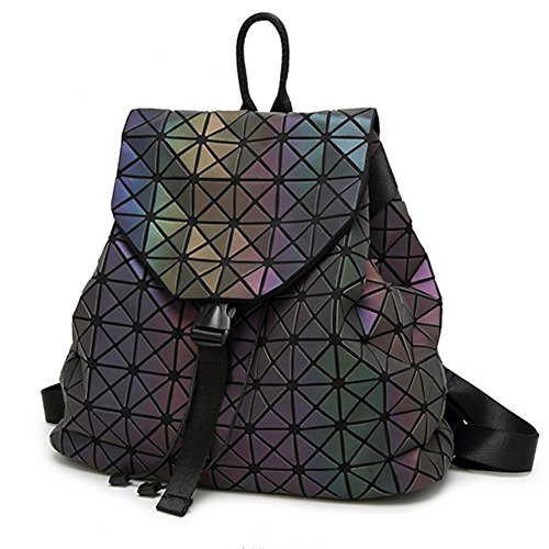 HotOne Geometric Purse Backpack Holographic Purse and Handbag Color Changes Luminous Purse (Luminous Medium Backpack)