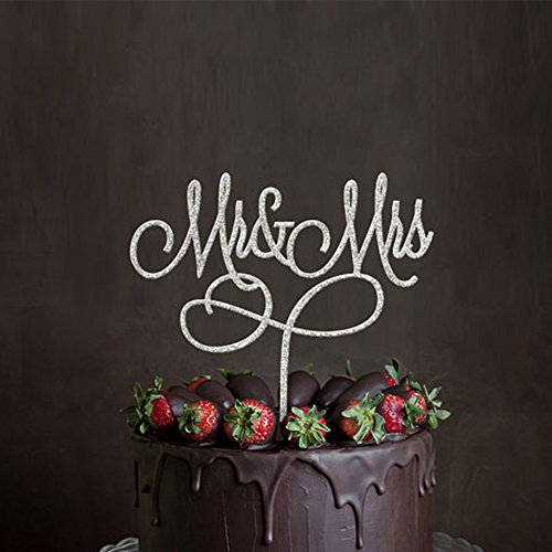 Acrylic Mr & Mrs Cake Topper, Monogram Wedding Bridal Shower Anniversary Decoration Gift Favors, Bling Metal, Silver (Mr & Mrs 4)