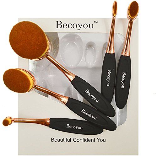 Makeup Brushes Set, Becoyou New Fashionable Super Soft Oval Toothbrush Makeup Brush Cosmetic Brushes, Rose Gold