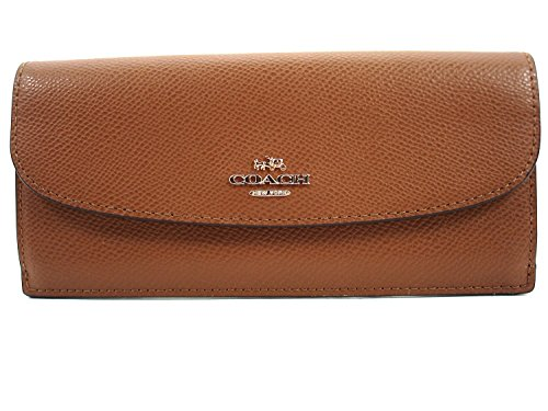 Coach CrossGrain Leather Wallet Saddle