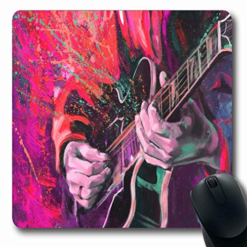Ahawoso Mousepads for Computers Show Green Splash Jazz Guitarists Hands Playing Guitar Fluid Multicolored Fantasy Music Liquid Paint Oblong Shape 7.9 x 9.5 Inches Non-Slip Oblong Gaming Mouse Pad