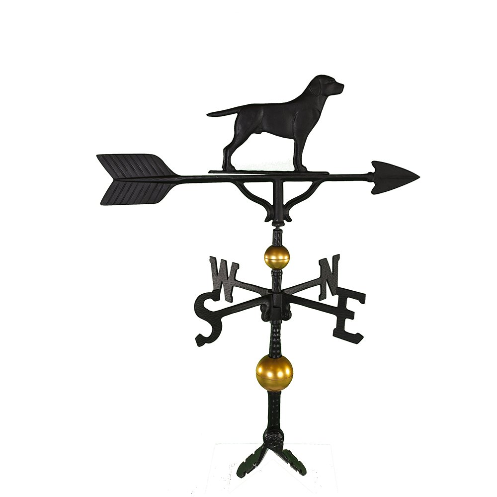 Montague Metal Products 32-Inch Deluxe Weathervane with Satin Black Retriever Ornament