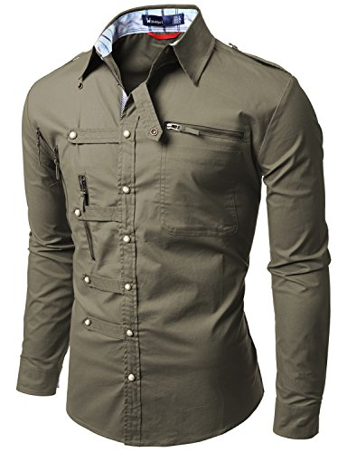 Doublju Mens shirts with Zipper point