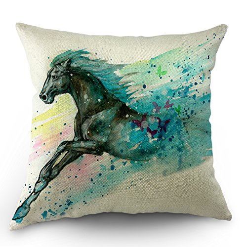 Moslion Horse Pillows Decorative Throw Pillow Cover Case Safari Watercolor Wild Running Horses Pillow Case 18 x 18 Inch Cotton Linen Cushion Cover for Sofa Bed Living Room Black Blue ()