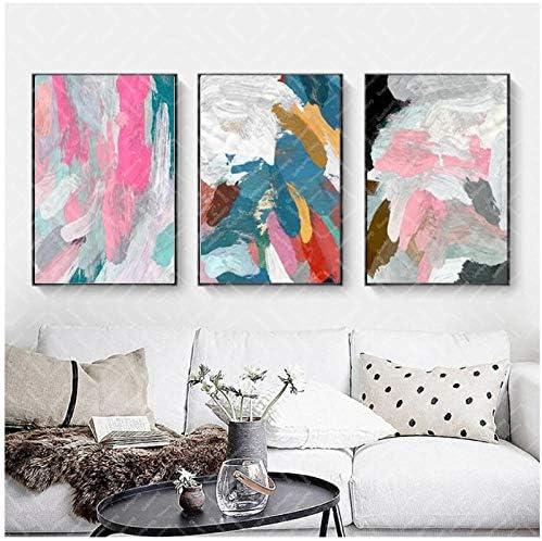 現代抽象カラーブロック絵画ストロークトリプル用リビングルームキャンバス絵画壁写真プリントとポスター-50x70x3Pcscmなしフレーム
