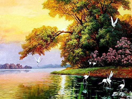 Zmklonh Diamond Drawing 5d Diamond Embroidery Natural Scenery Diamond Painting Bird Cross Embroidered Crystal Mural 30x40cm Green Buy Online At Best Price In Uae Amazon Ae